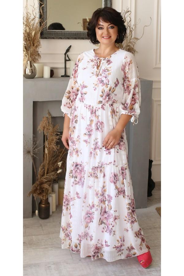 Нарядне довге плаття з принтом квітів LB205502