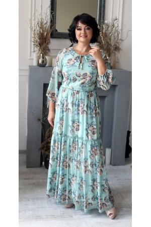 Нарядне довге плаття з принтом квітів LB205501