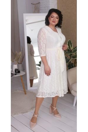 Нарядна гіпюрова сукня великого розміру LB216704 білий