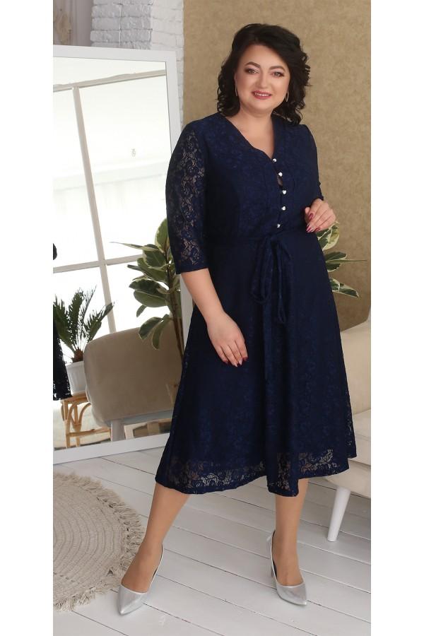 Нарядна гіпюрова сукня великого розміру LB216702 синій