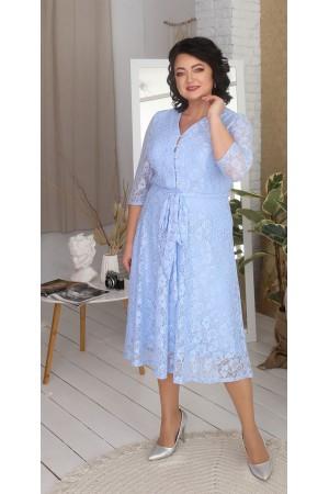 Нарядна гіпюрова сукня великого розміру LB216703 блакитний