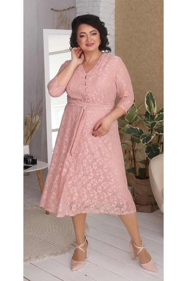 Платье нарядное большого размера LB216701 розовое