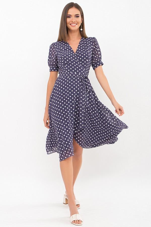 Платье Алеста к/р GL69477 цвет синий - белый горох