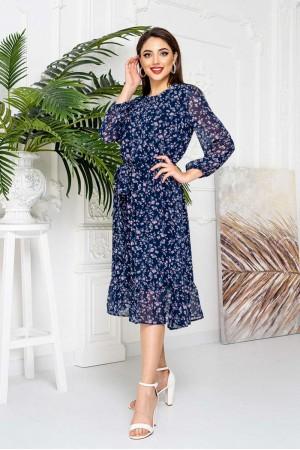 Яркое синее платье YM42106 цветы 2021