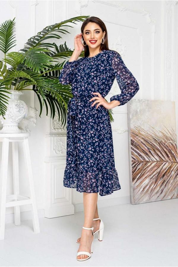 Яскраве квіткове плаття YM42106 синє 2021