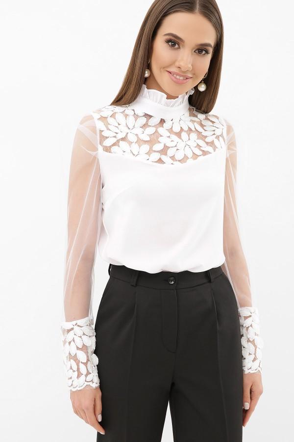 Біла блузка з прозорими рукавами Соломія д/р GL5240101