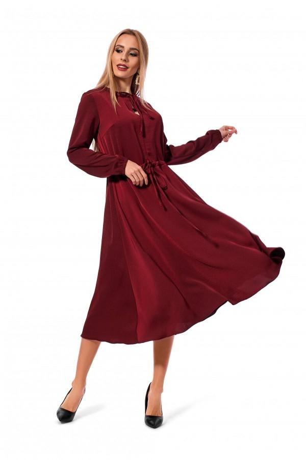 Плаття вільного силуету кольору бордо SL119801