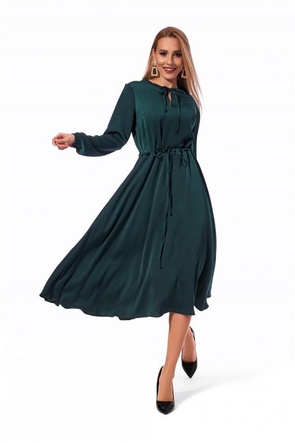 Плаття вільного силуету бутилочного кольору SL119802