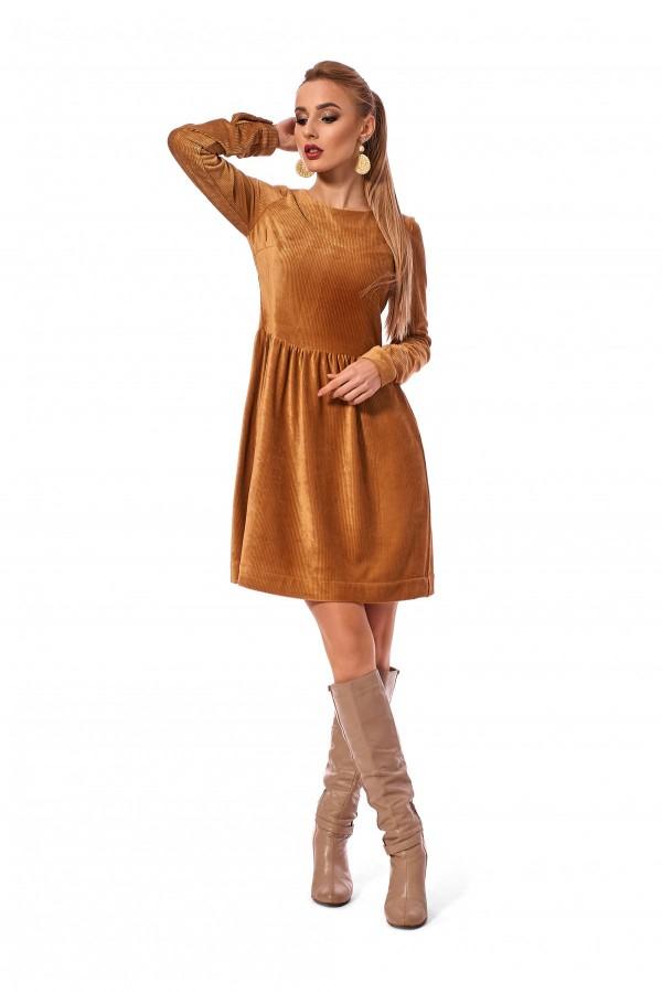 Плаття вільного силуету карамельного кольору SL120001