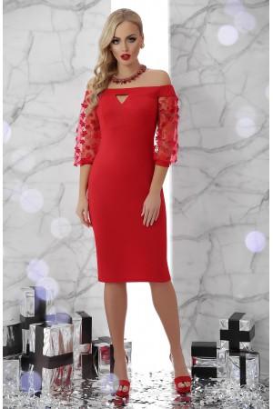 Красное платье с цветочками Розана GL703601