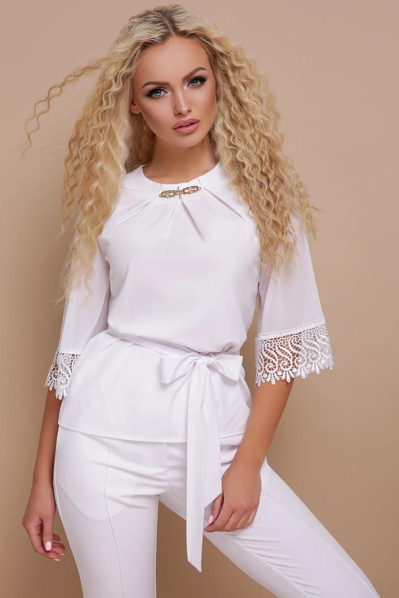 ce285ec7c0a Купить белую блузку с кружевом Карла GL691902 недорого с доставкой в ...