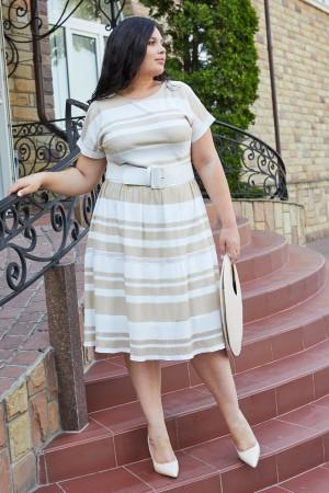 Елегантна сукня у смужку HD69901 бежева