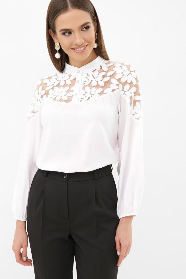 Біла блузка з коміром-стійкою Аяна д/р GL5216601
