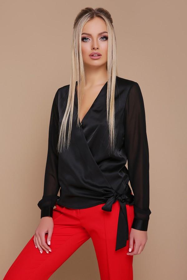 Черная блузка с запахом Божена GL691302