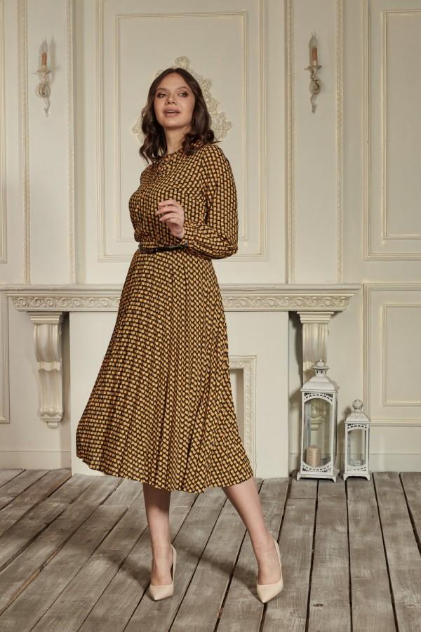 Гірчичне плаття з чорним візерунком 2021 HD67102
