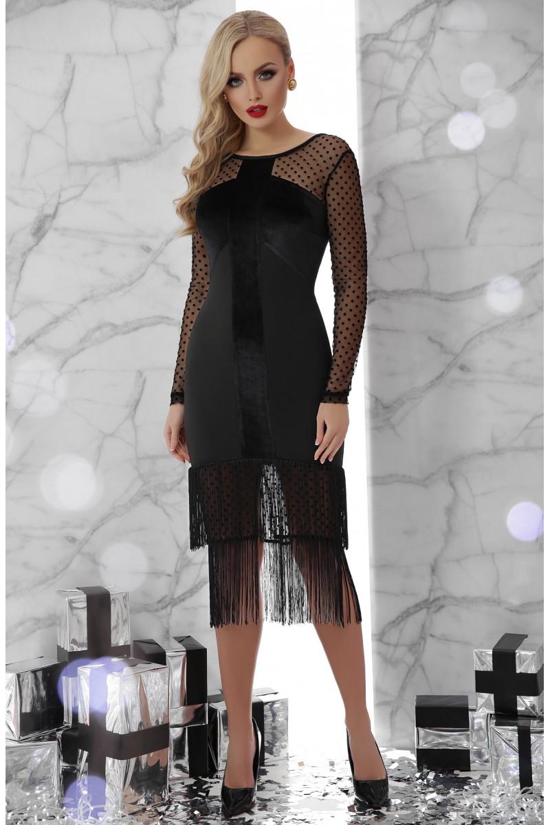698eac50307 Купить черное платье с бахромой Багира GL703301 с доставкой в Киев ...