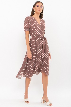 Плаття Алеста к/р GL69479 колір капучино-білий горох