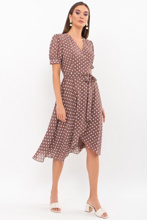 Платье Алеста к/р GL69479 цвет капучино-белый горох