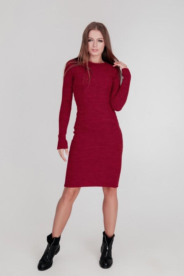 В'язане плаття Олена SWPW55907 колір бордо