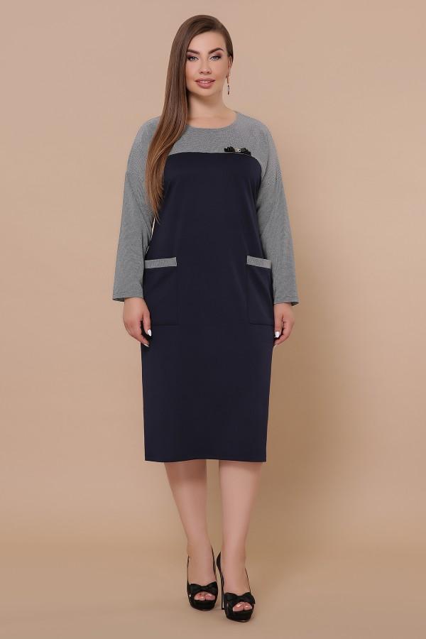 Платье Джоси-Б д/р GL51158 цвет синий-лапка м.черная