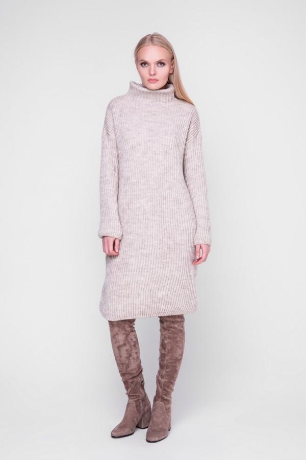 В'язане плаття Люрекс SWPW57302 колір печериця