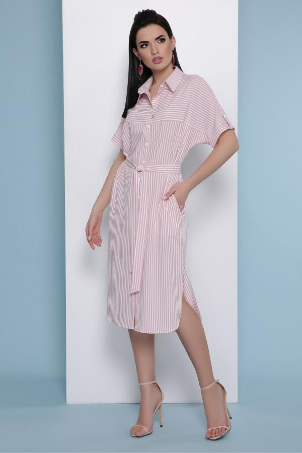Платье-рубашка Дарья к/р GL48376 цвет розовая полоска