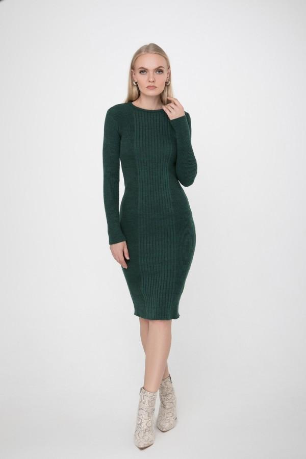 В'язане теплу сукню Олена SWPW55908 колір темно-зелений