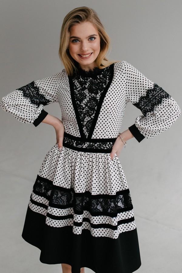 Плаття HD645-01 біле в горошок