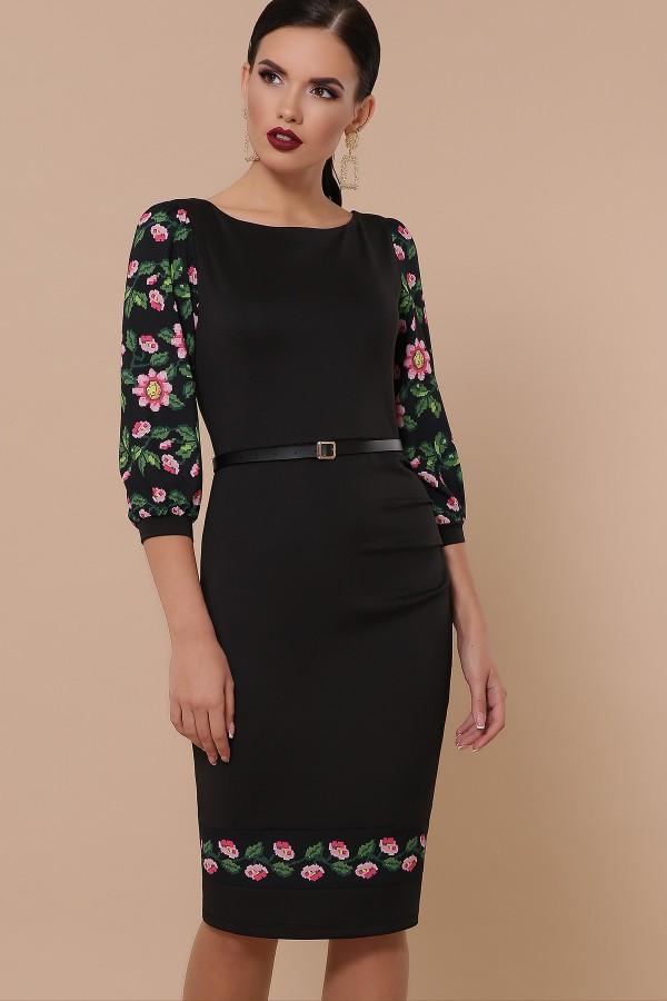 Квіти-орнамент плаття Андора д/р GL32287 колір чорний