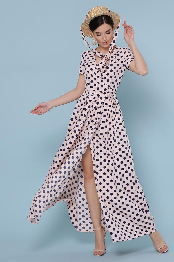 платье Шайни к/р GL49220 цвет персик-синий горох
