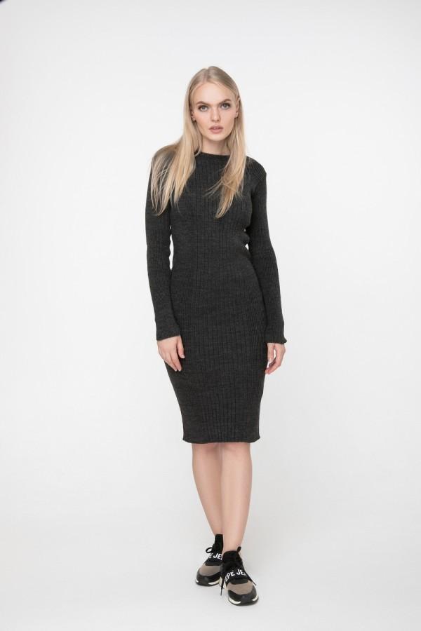 В'язане плаття Олена SWPW55909 колір темно-сірий