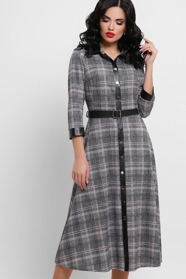 Платье Евдокия д/р GL53060 цвет клетка черный-розовый