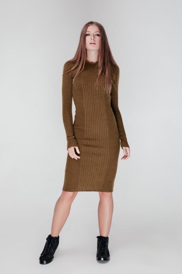 В'язане плаття Олена SWPW55902 колір хакі