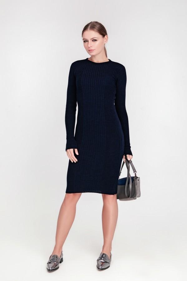 В'язане плаття Олена SWPW55903 колір темно-синій