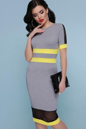 Сукня Лоліта к/р GL47544 колір сірий-жовта оздоблення