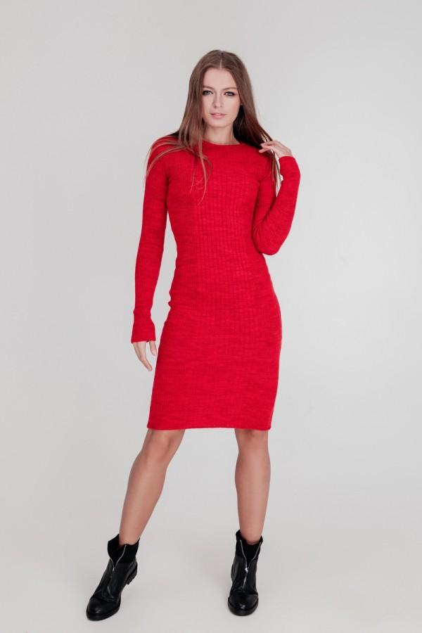 В'язане плаття Олена SWPW55904 колір червоний