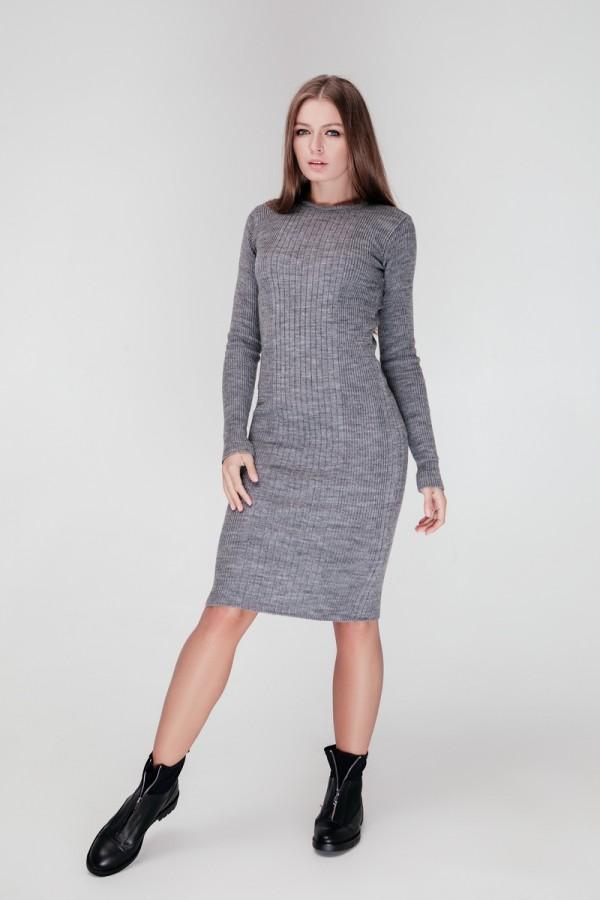 В'язане плаття Олена SWPW55905 колір сірий