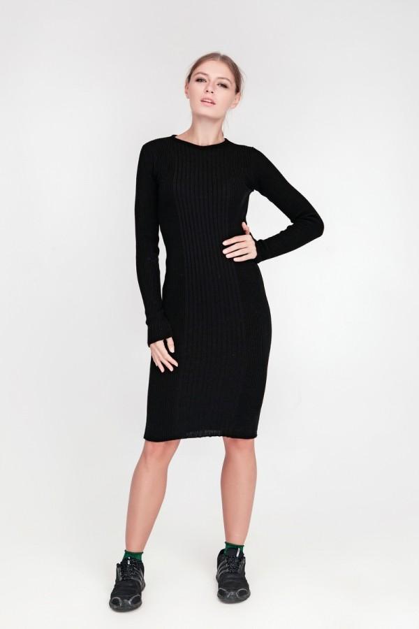 В'язане плаття Олена SWPW55906 колір чорний