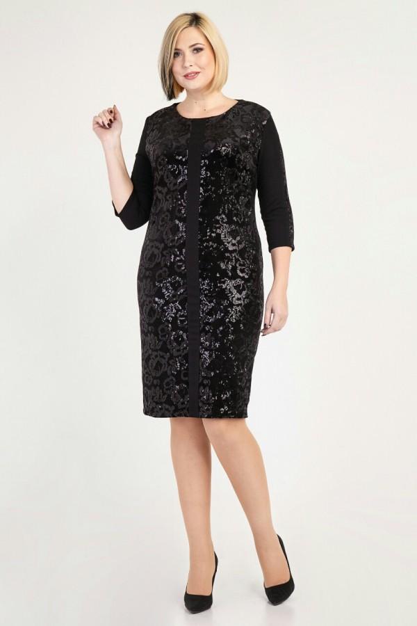 Новорічне чорне плаття Ешлі VN37101 великого розміру