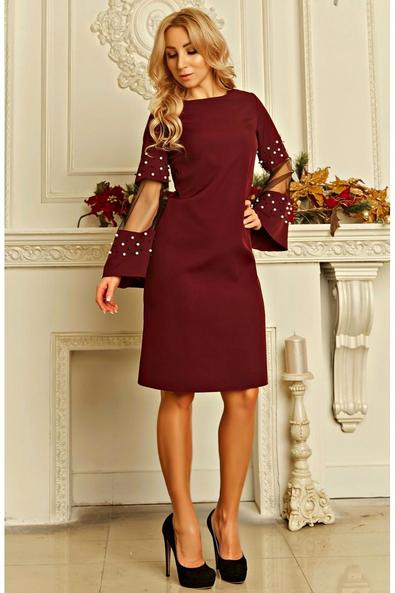 fd459aa2d62c75 Купити сукня з перлами Скарлетт AD724601 кольору марсала з доставкою ...