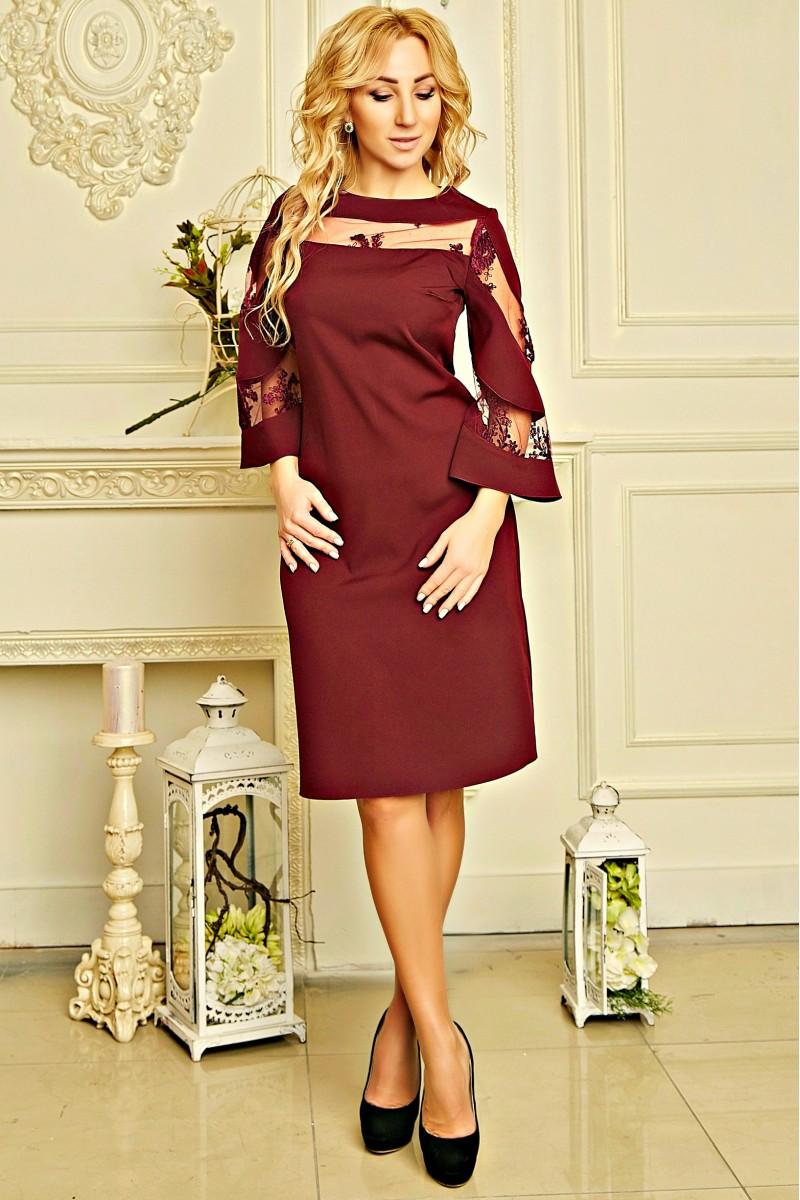 376e47b13c5 Купить нарядное платье с сеткой Элисон AD7164 бордового цвета ...