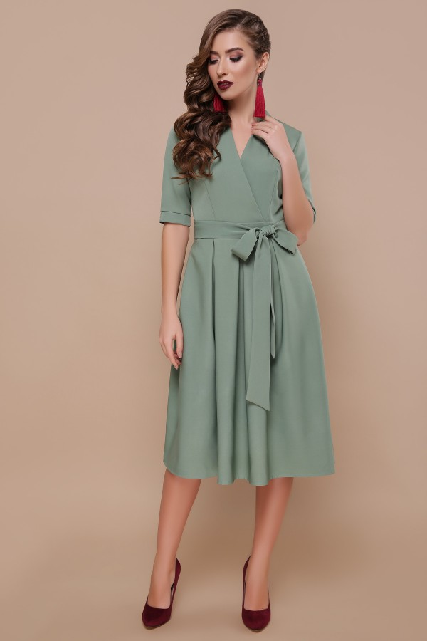 Модное платье 2019 Ангелина цвет хаки