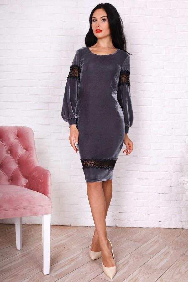 Нарядне сіре плаття AL75301 для новорічного корпоративу