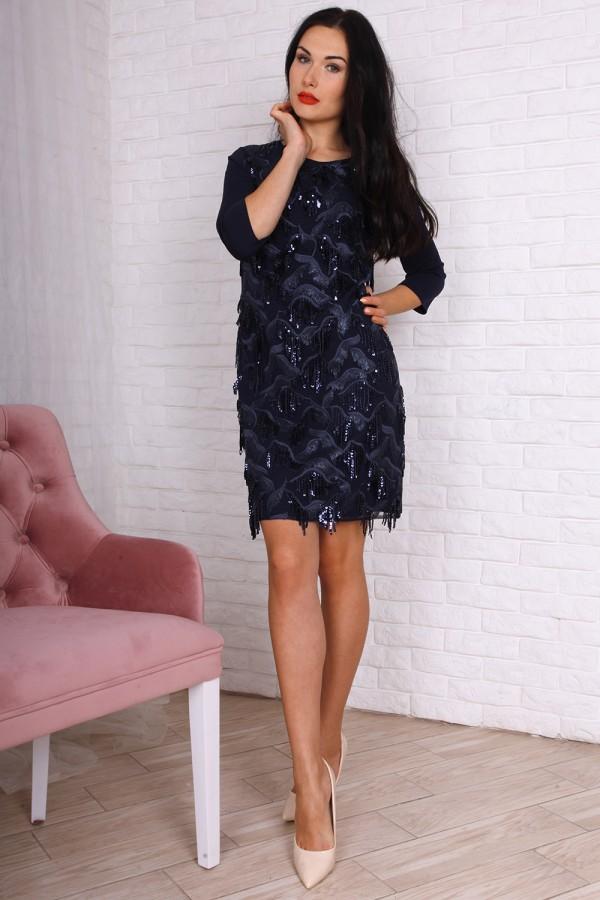 Вечірнє плаття AL75903 синього кольору