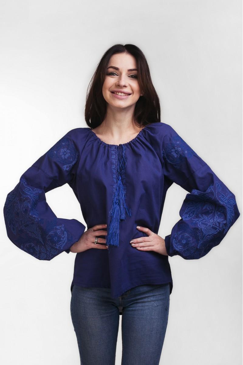 Купить синюю женскую вышиванку с орнаментом MR20601 Жар Птица ... b466dfded1124