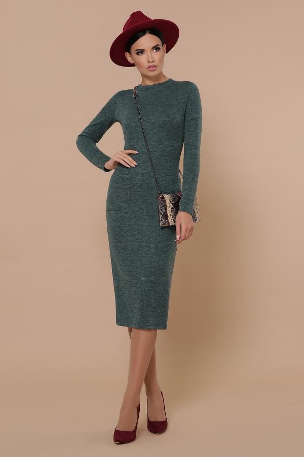 Осіннє тепле плаття Габріела GL702501 ізумрудного кольору