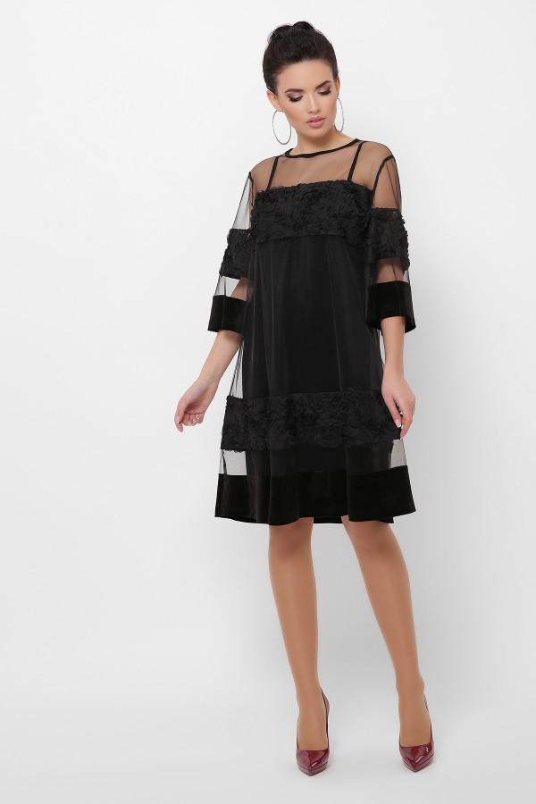 Сукня Хелма батал 3/4 GL52508 колір чорний