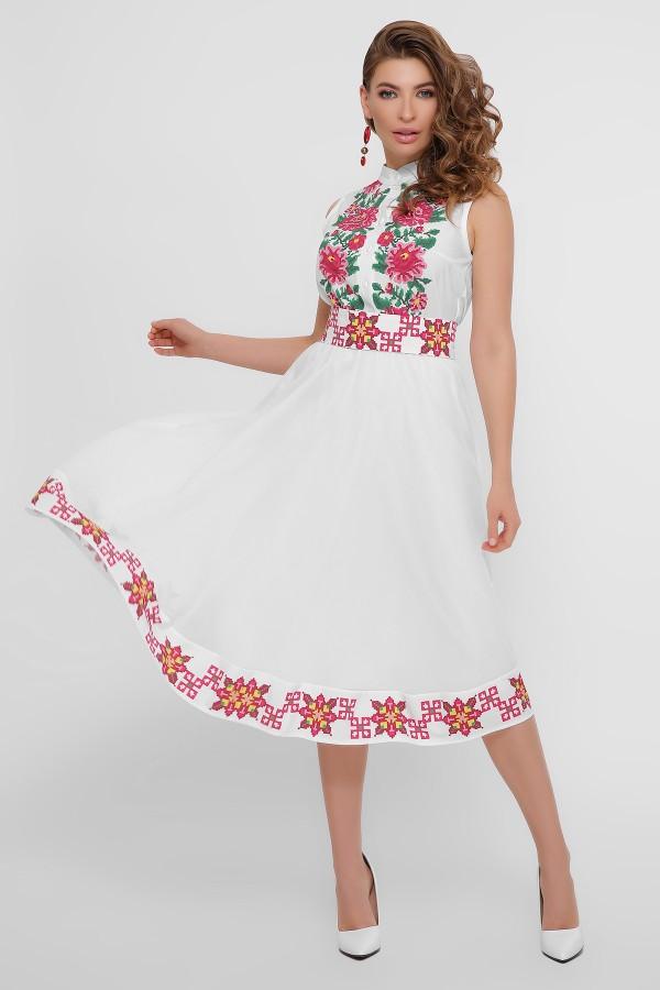 Стильне плаття миди  з прінтованим орнаментом 2020 Кайлі GL860601 біле