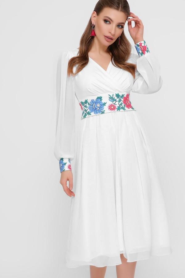 Этно-платье  миди Лианна GL8619 белое принт