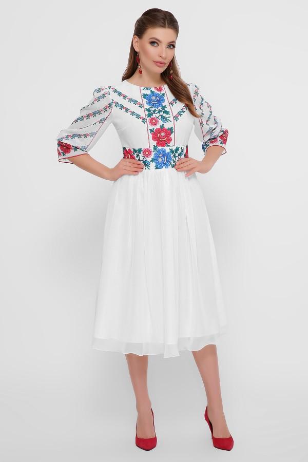 Этно-платье  миди Сария GL861801 белое принт